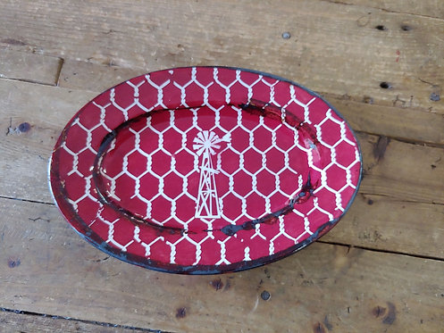 Red Chicken wire and windmill pottery plate