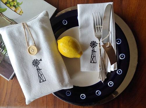 Napkins (100% Cotton) - Windmill range (Set of 4) in a Cotton bag