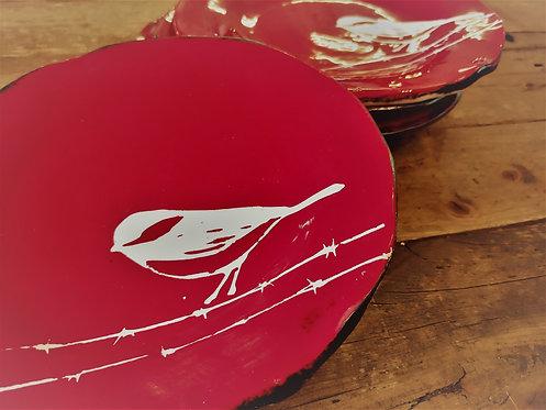 Little bird red Plates