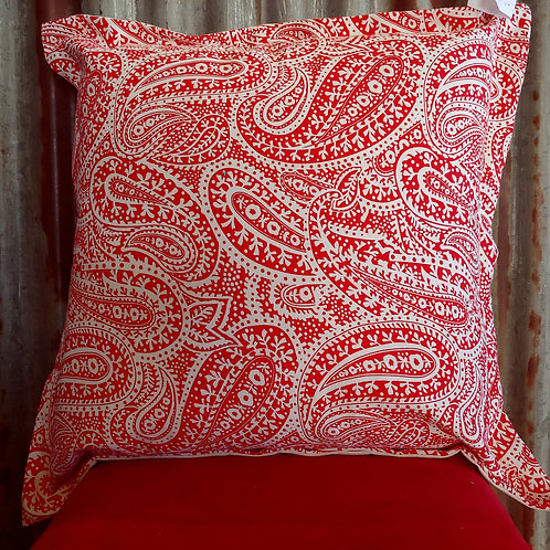 Red and white Paisleys Scatter Cushion
