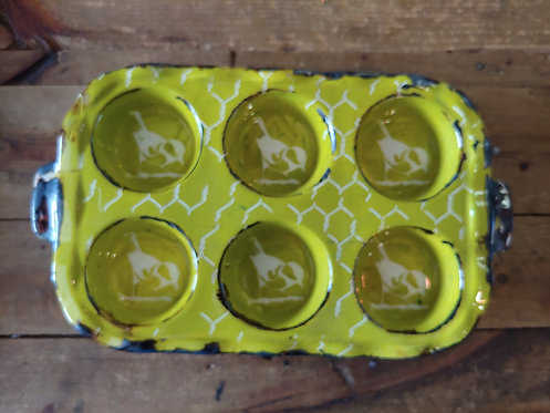 Behind The Chicken Wire Pottery Muffin Tray Limegreen