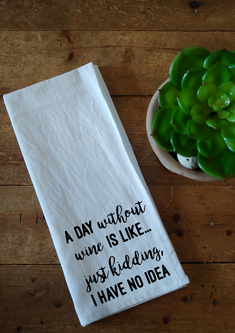 Cotton Dishcloth - A day without wine