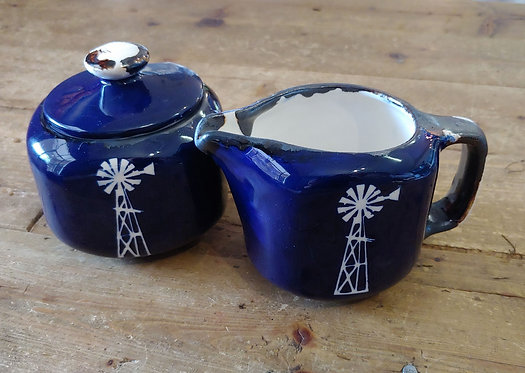 Sugar and Milk pottery. R95 each.Red and Blue