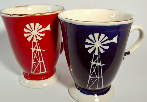 Windmill Mugs with foot, Red or Blue