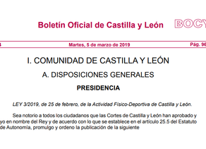 Entra en vigor la Ley de Actividad Físico-Deportiva de Castilla y León