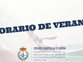 Horario de verano de COLEF Castilla y León