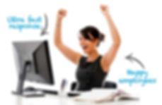 cheering woman using computer