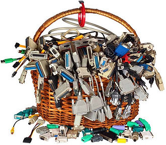 basket full of cables