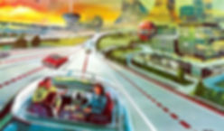 retro futuristic drawing of autonomous car on highway