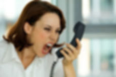woman shouting into phone