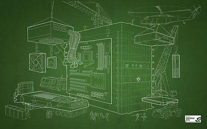 blueprint of computer tower