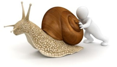 cartoon person pushing a snail