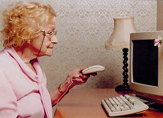 old woman using computer