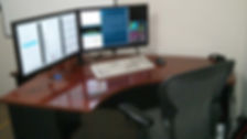 desk wih dual monitors