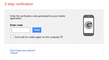 sample of two factor authorzation screen
