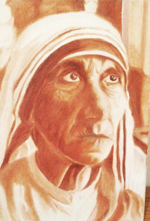 ציור בצבעי שמן - אמא תרזה