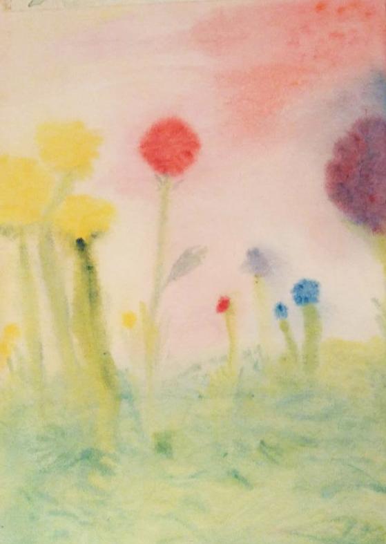 ציור בצבעי מים- תרגילי פרחים