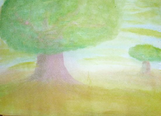 צבעי מים - תרגיל עצים