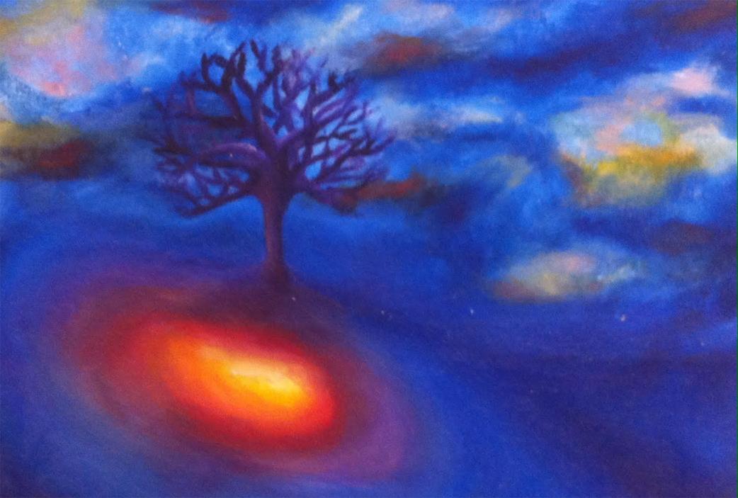 ציור בצבעי מים- האדמה והעץ