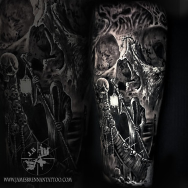skull ferry man tattoo