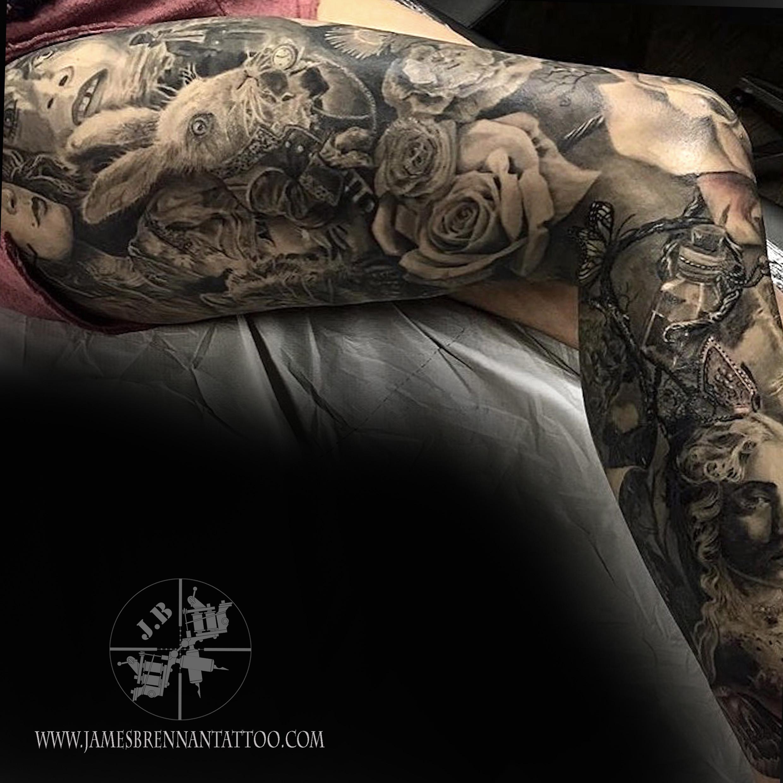 148a76ca7 Alice in Wonderland leg sleeve tattoo by James Brennan
