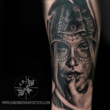 Day of the dead portrait tattoo by James Brennan