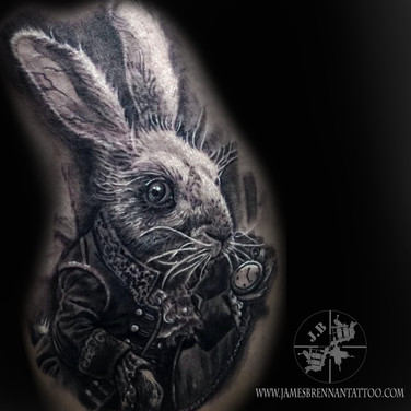 March hare tattoo, Alice in wnderland tattoo by James Brennan