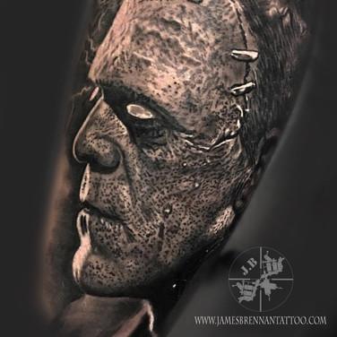 Monster of Frankinstien portrait tattoo by James Brennan