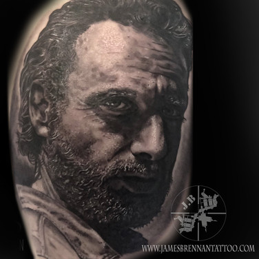 Walking dead Rick portrait tattoo by James Brennan