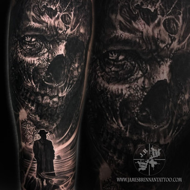 Dark horror tattoo by James Brennan