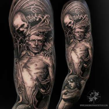 good vs eveil sleeve tattoo by James Brennan
