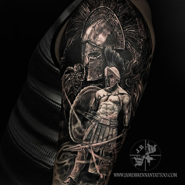 Spartan warrior tattoo by James Brennan