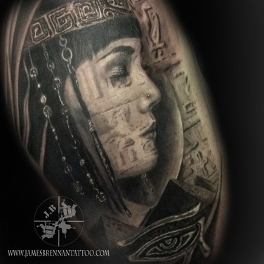 Cliopatra Eygiptian portrait tattoo by James Brennan