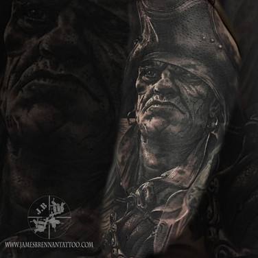Pirate portrait tattoo by James Brennan