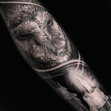 Owl and candel tattoo