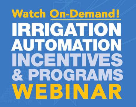 WEBINAR: New Irrigation Automation Incentives & Programs