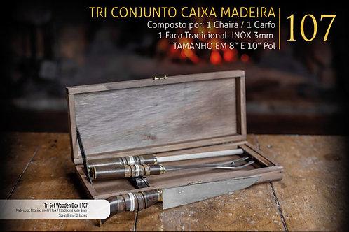 CONJUNTO TRI COM CAIXA EM MADEIRA