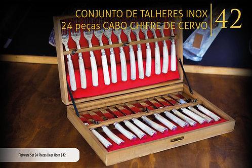 CONJUNTO DE TALHERES 24 PEÇAS CHIFRE DE CERVO