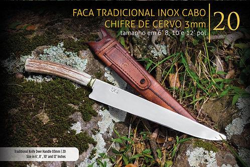 FACA TRADICIONAL INOX CABO DE CHIFRE DE CERVO 3MM