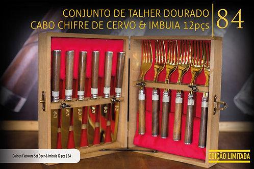 CONJUNTO DE TALHER DOURADO CERVO E IMBUIA 12 PEÇAS