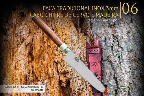 Faca Tradicional - Cabo Chifre de Cervo e Madeira