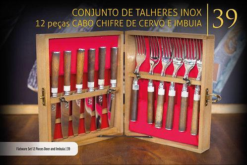 CONJUNTO DE TALHERES CABO CERVO E IMBUIA 12 PEÇAS