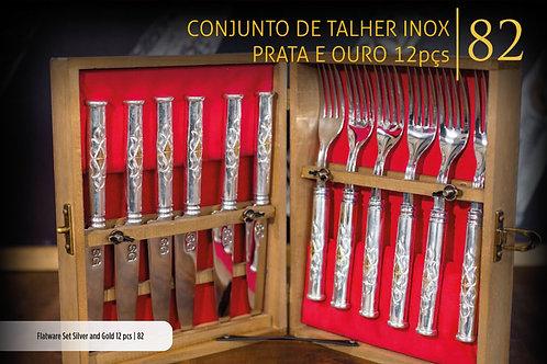 CONJUNTO DE TALHERES PRATA E OURO 12 PEÇAS