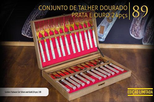 CONJUNTO DE TALHER DOURADO PRATA E OURO 24 PEÇAS