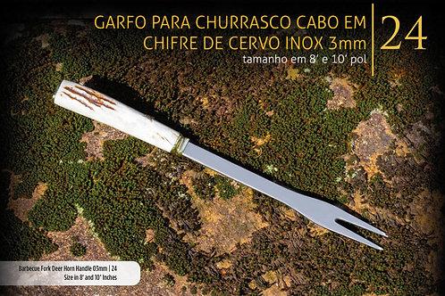 GARFO PARA CHURRASCO COM CABO EM CHIFRE DE CERVO