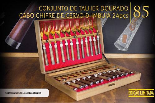 CONJUNTO DE TALHER DOURADO CERVO E IMBUIA 24 PEÇAS