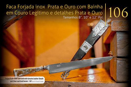 FACA E BAINHA OURO E PRATA