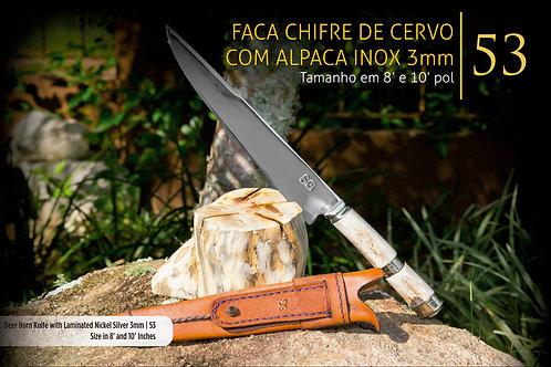 FACA CHIFRE DE CERVO COM ALPACA LAMINADA 3MM