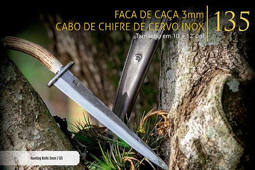 FACA DE CAÇA 3MM CABO DE CERVO