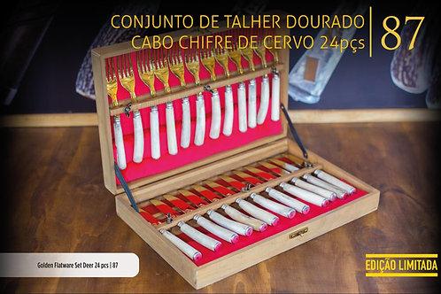 CONJUNTO DE TALHER DOURADO CERVO 24 PEÇAS